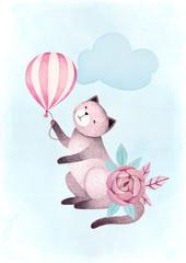 Fototapeta Do pokoju dziecka Watercolor illustrations of a cat and flowers