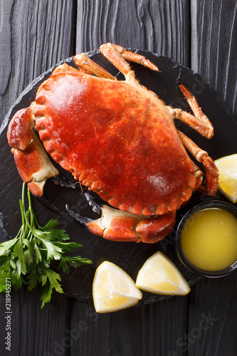 Seafood menu: boiled delicacy brown crab with sauce, lemon and parsley on a slate board close-up. Vertical top view