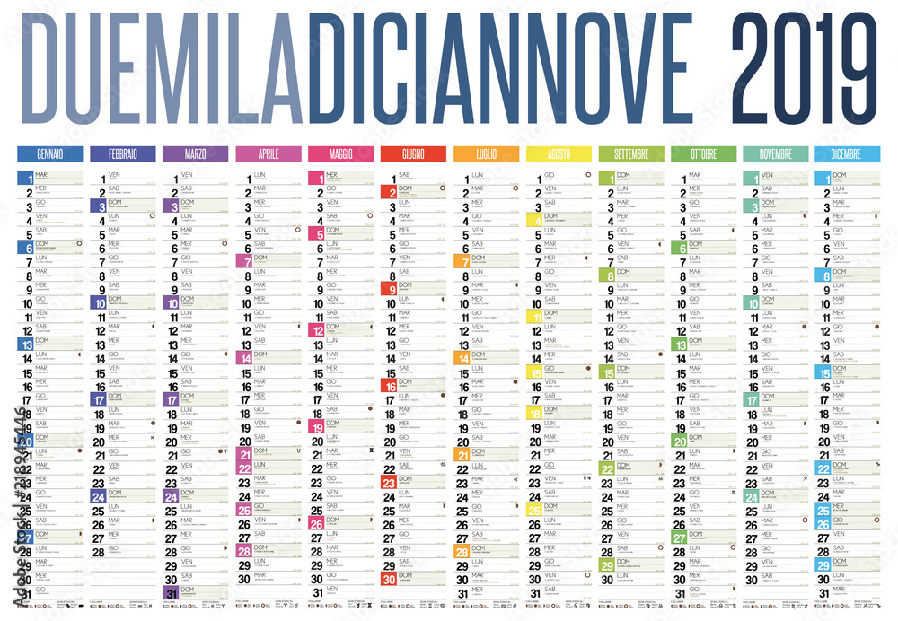 Fototapeta 2019 italian calendar with italian holidays, zodiac , saints, moon phases, astronomical events, sunset and sunrise - obraz na płótnie