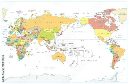 Plakaty kula ziemska - drukowane na wymiar pacyficzna-mapa-swiata-na-tle-w-kolorze-bialym