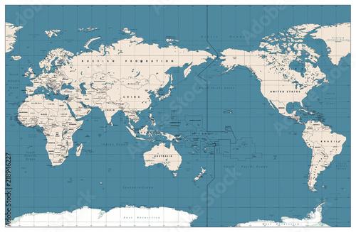 Plakaty kula ziemska - drukowane na wymiar pacyficzna-mapa-swiata