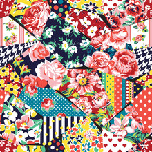 Rose Flower Abstract Vector Fabric Patchwork Seamless Pattern