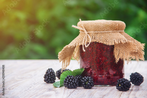 homemade jam with blackberry. Preparation. Selective focus. Canvas Print