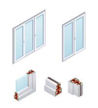 PVC Windows Isometric Icons