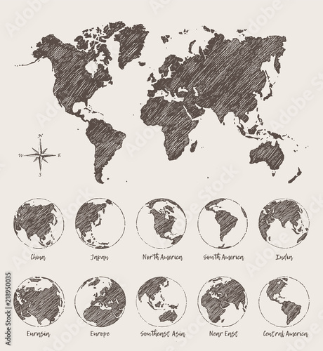 Sketches map world land globe Vector Illustration