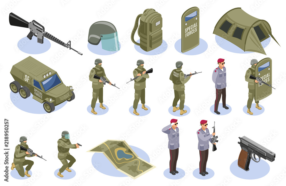 Fototapeta Military Special Forces Isometric Icons