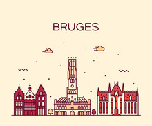 Bruges Skyline, West Flanders, Belgium Vector Line