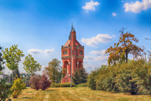 WROCLAW, POLAND - AUGUST 18, 2018: The Water Tower At Sudecka Street In Wroclaw, 63 Meters High, Designed By Karl Klimm. Built 1904-1905, Situated In Borek, The District Of Krzyki, Wroclaw, Poland.