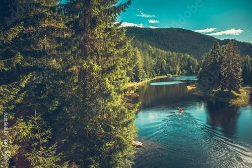 Fototapeta  Kayaker on the Norwegian River