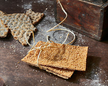 Rye Crackers And Old Wooden Bo...