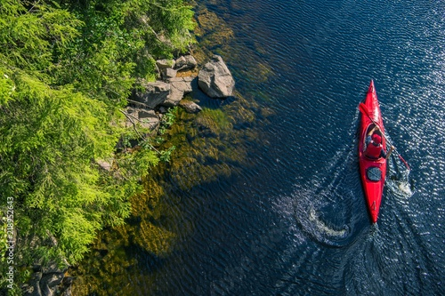 Canvas Print River Kayaker Aerial View