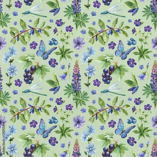 lato-bezszwowy-wzor-akwarela-ilustracje-kwiatow-jagod-i-owadow