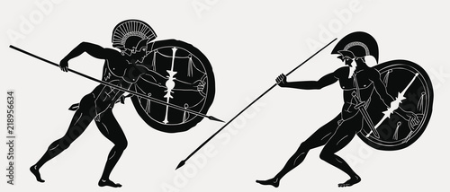 Two ancient Greek warrior Hector and Achilles with a spear and shield in his hands isolated on a grey background.