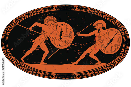 Photo Two ancient Greek warrior Hector and Achilles with a spear and shield in his hands