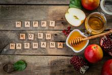 Rosh Hashana Jewish Holiday Concept - Apples, Honey, Pomegranate