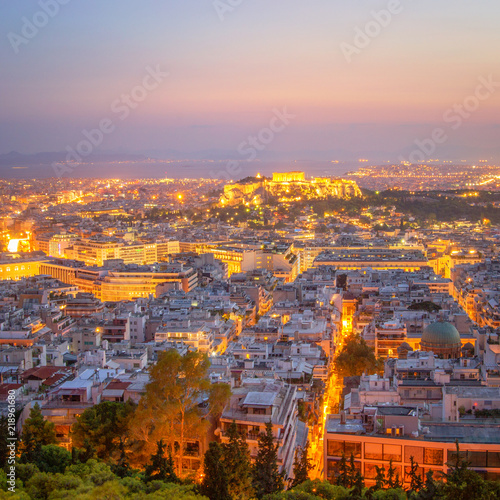 Fotobehang Athene Evening View of beautiful Athens, Greece