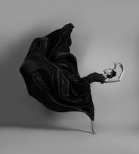 Ballerina In A Flying Black Dress