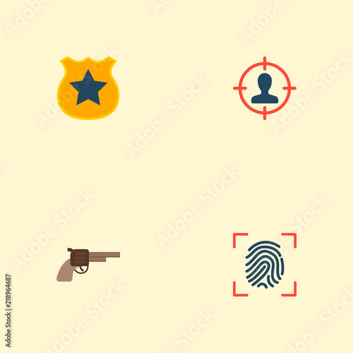 Fotografía  Set of crime icons flat style symbols with fingerprint, suspect, gun and other icons for your web mobile app logo design