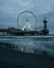 Scheveningen Beach In The Netherlands And Fireworkshow At Night
