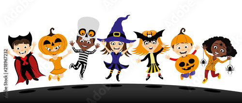 Group of children in costumes for halloween on white background. - 218967232