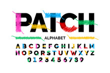 Patched Font Design Stitched With Thread, Embroidery Font Alphabet Letters And Numbers