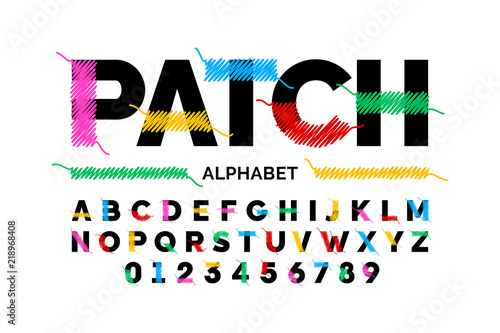 Patched font design stitched with thread, embroidery font alphabet letters and n Canvas Print