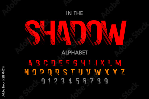 Modern font with shadow effect, alphabet letters and numbers Wallpaper Mural