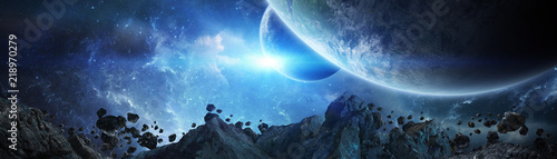 Fotografie, Obraz  Panoramic view of planets in distant solar system 3D rendering elements of this