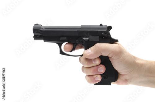 Fotografía Gun, pistol in hand isolated on white