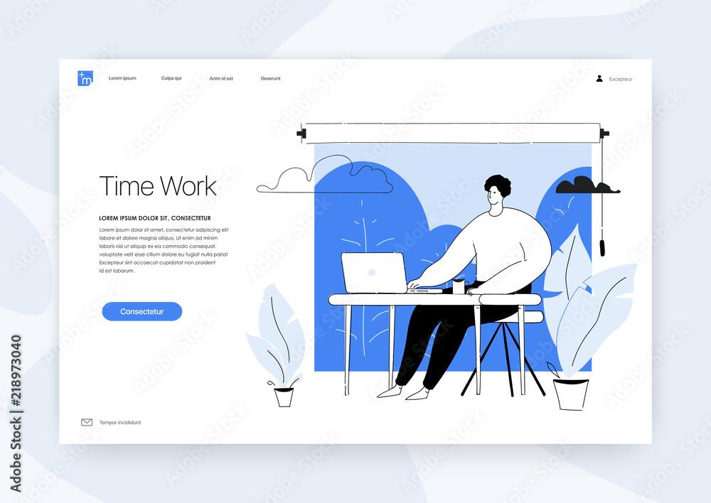 Fototapeta Office concept business people Vector illustration Design concept of web page