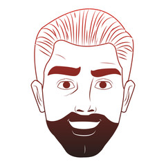 Man face with beard pop art cartoon vector illustration graphic design