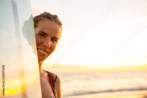 Portrait Of Young Surfer Woman In Sexy Bikini With Surfing