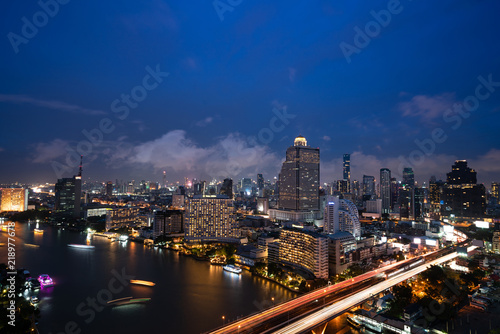 Fototapeta Ariel View Of City Of Bangkok Metropolis In