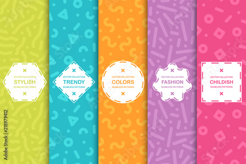 Set of colorful seamless creative patterns. Bright trendy backgrounds in memphis style. Fashion design 80-90s