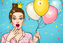 Young Surprised Woman With Colored Balloons And A Princess Crown On His Head. Amazed Fashion Woman. Party Invitation. Happy Birthday