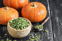 Bowl With Pumpkin Seeds And Sm...