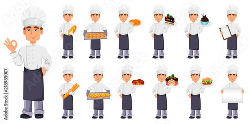 Tela Handsome baker in professional uniform
