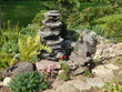 Japanese garden with stones and flowers