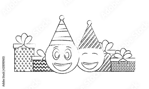 Birthday Emoji Face With Party Hat And Gifts Vector Illustration Hand Drawing