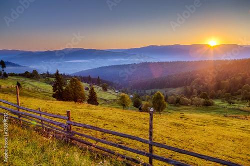 Photo Stands Lavender Summer sunrise in Bucovina, Romania