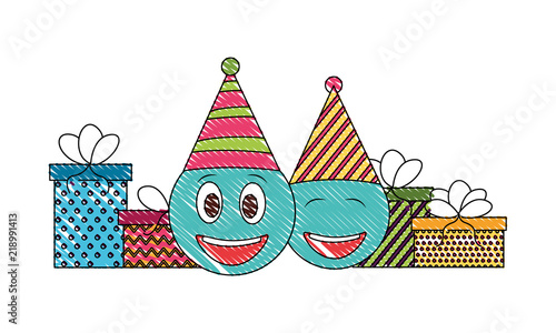 Birthday Emoji Face With Party Hat And Gifts Vector Illustration Drawing Color