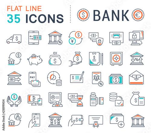 Fotografia Set Vector Line Icons of Bank.