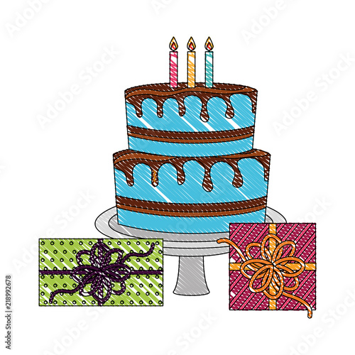 Birthday Big Cake With Candles And Gift Boxes Celebration Vector Illustration