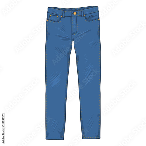 Obraz na plátne Vector Cartoon Illustration - Denim Jeans Pants. Front View.