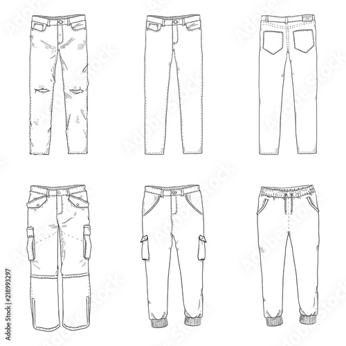 Photo Vector Set of Sketch Illustrations - Pants and Trousers Collection