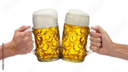 Montage in der Fensternische Bier / Apfelwein Maßkrug mit Bier auf dem Oktoberfest in München