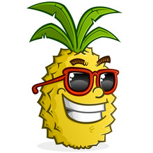 Pineapple Cartoon Character Wearing Sunglasses