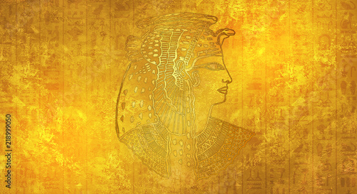 Photo Abstract ancient Egyptian background, Cleopatra. Gold