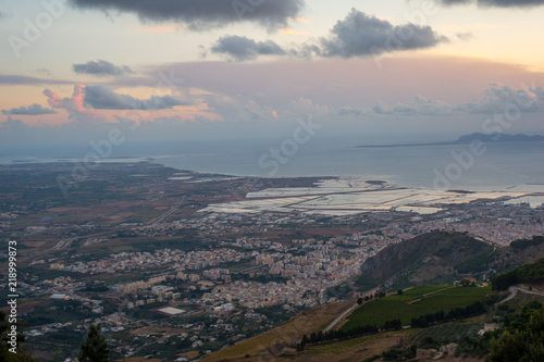 Papiers peints Saumon Beautiful panoramic view from Erice at Trapani and Egadi Islands , Sicily, Italy