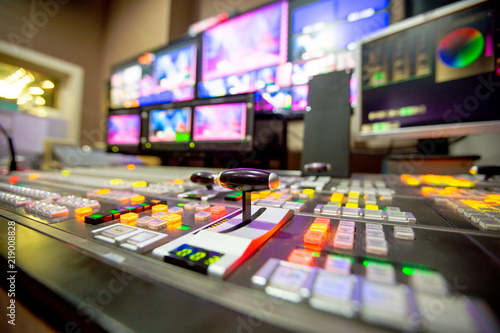 Photo  Blur background switcher or Switcher in studio news.